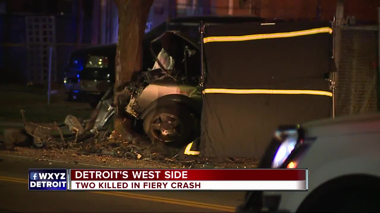 Two dead after car bursts into flames on Detroit's west side