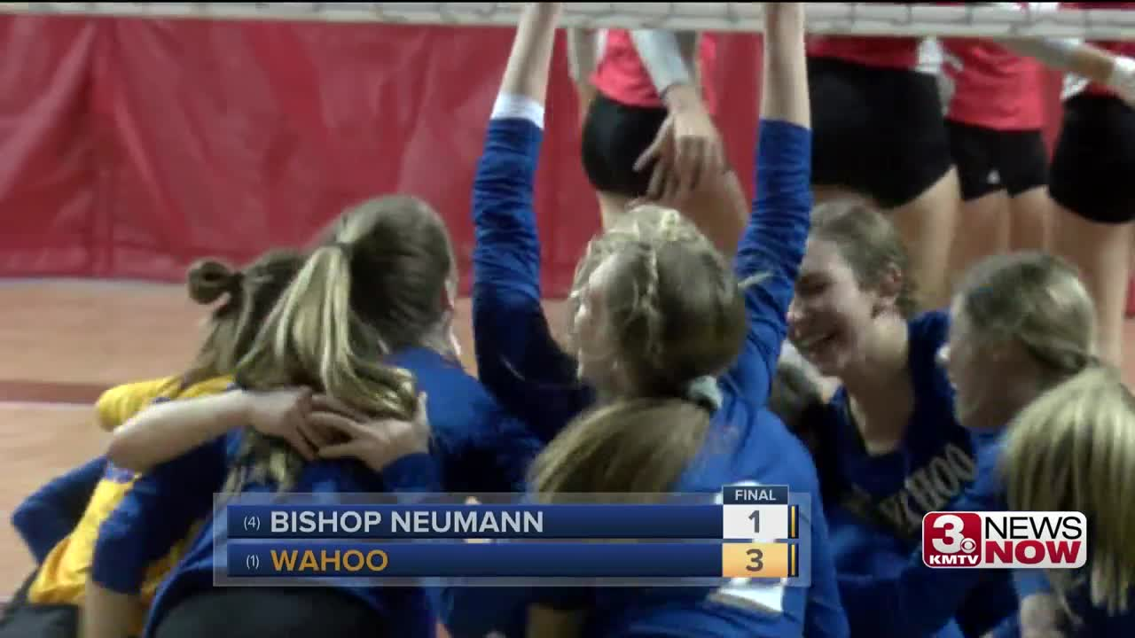 Nebraska State Volleyball: Wahoo beats Bishop Neumann to