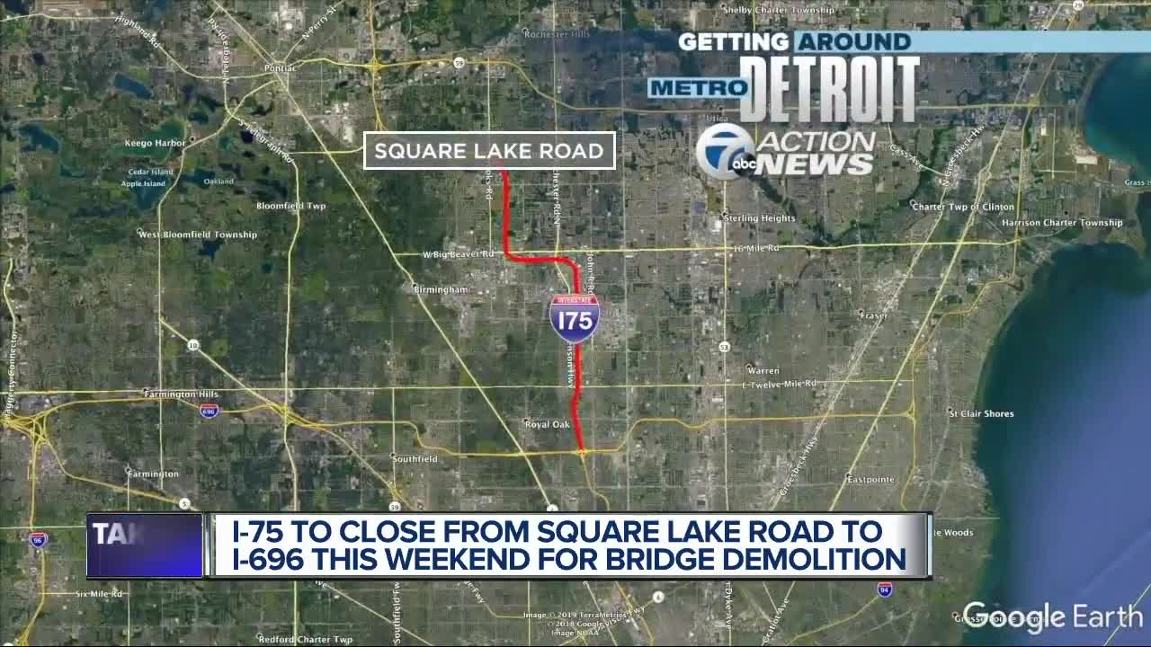 Both directions of I-75 closing between I-696 and Square