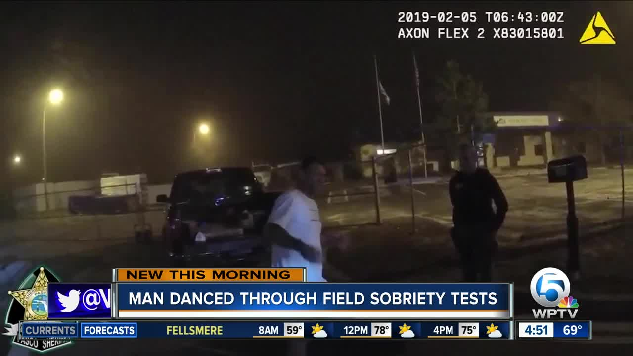 DUI suspect starts busting moves during roadside sobriety test