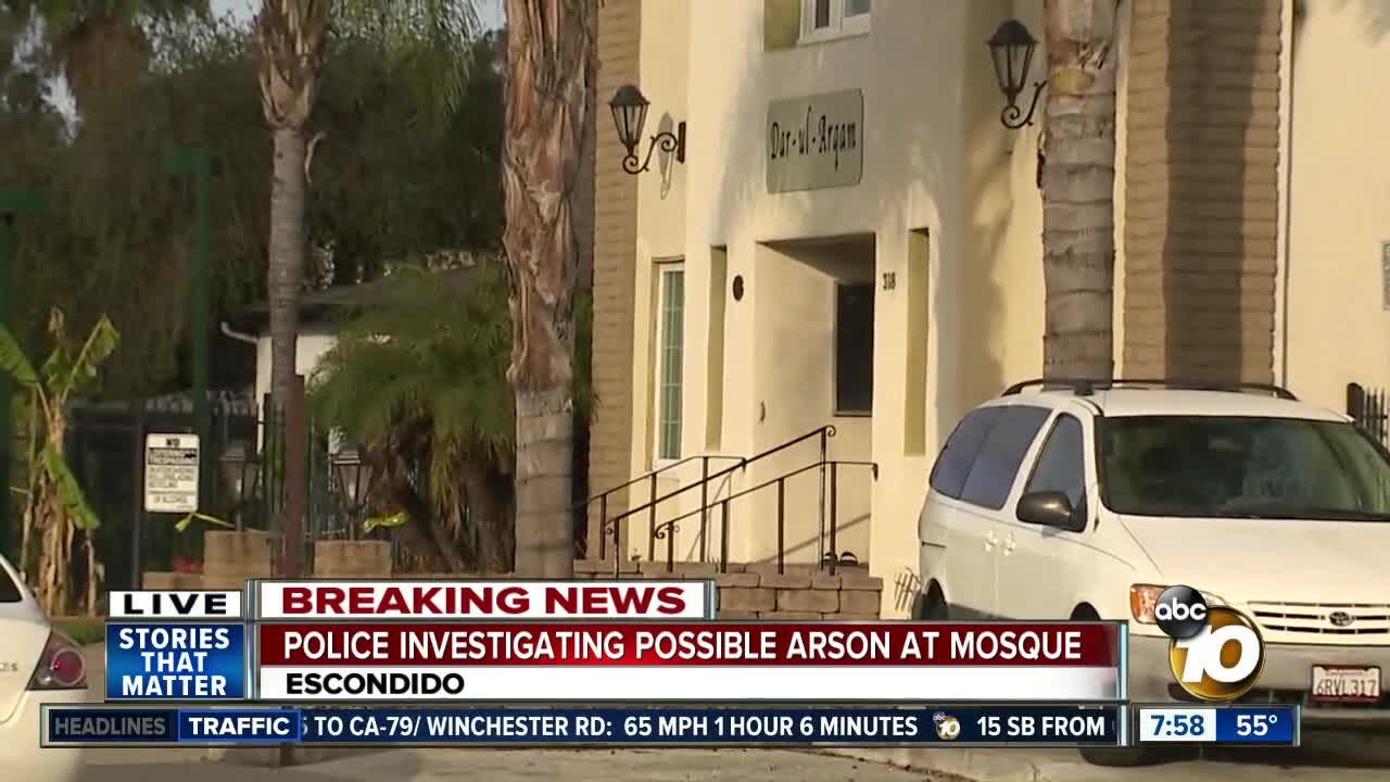 Police investigate possible arson at North County mosque