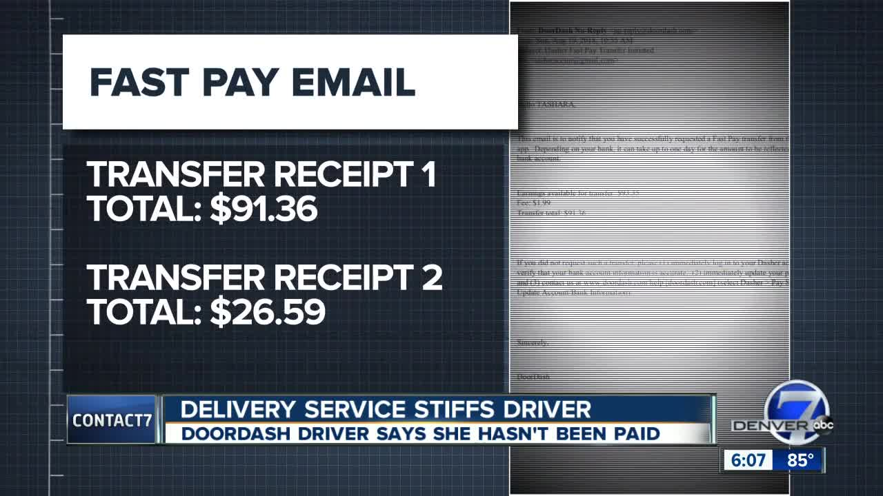 Colorado driver says DoorDash hasn't paid her yet