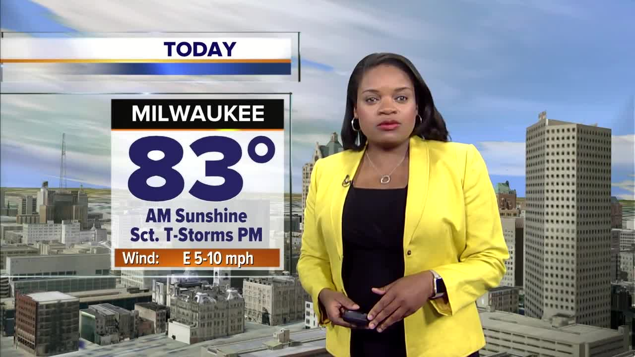 A warm, somewhat muggy day with a slight, isolated storm chance