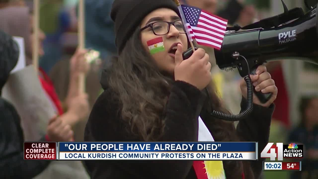 The Kansas City Kurdish community protested U.S. military moves in Syria and Turkey on the Plaza