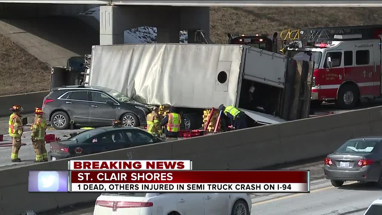 Woman killed in semi truck crash on westbound I-94 in Macomb County