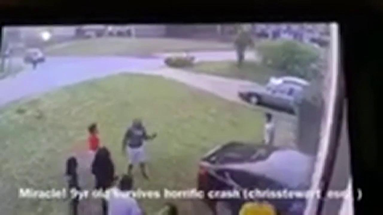 Driver slams into nine-year-old girl playing in her front yard