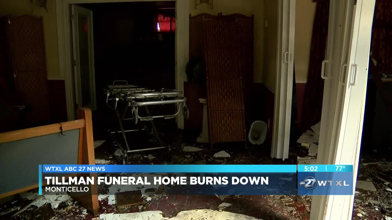 Tillman Funeral Home destroyed by fire in Monticello