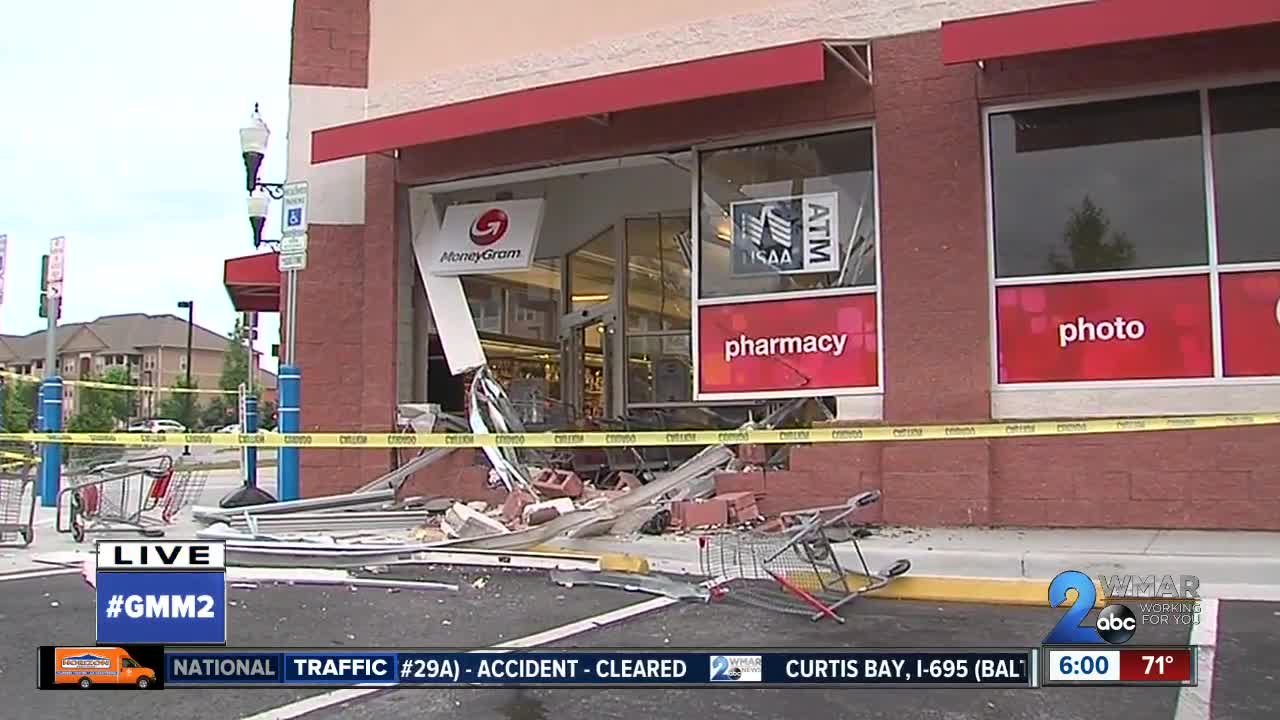 vehicle slams into cvs store in odenton wmar2news