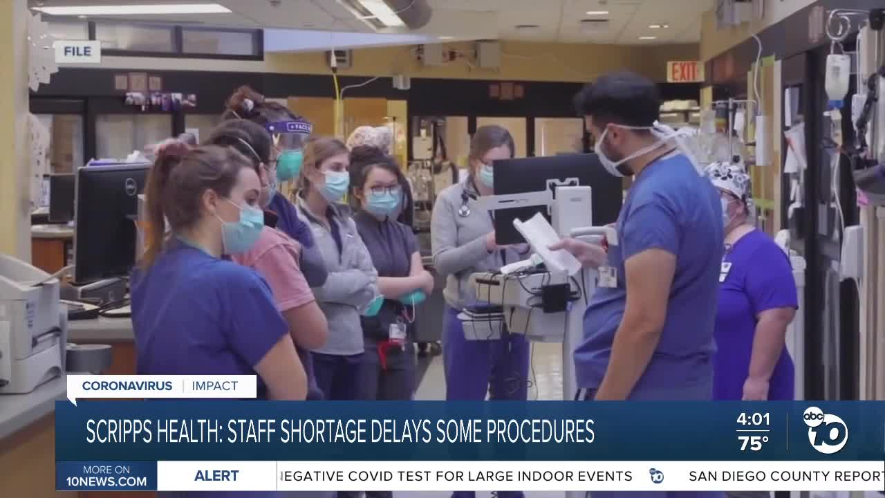 Scripps delays some procedures over staff shortage, COVID spike