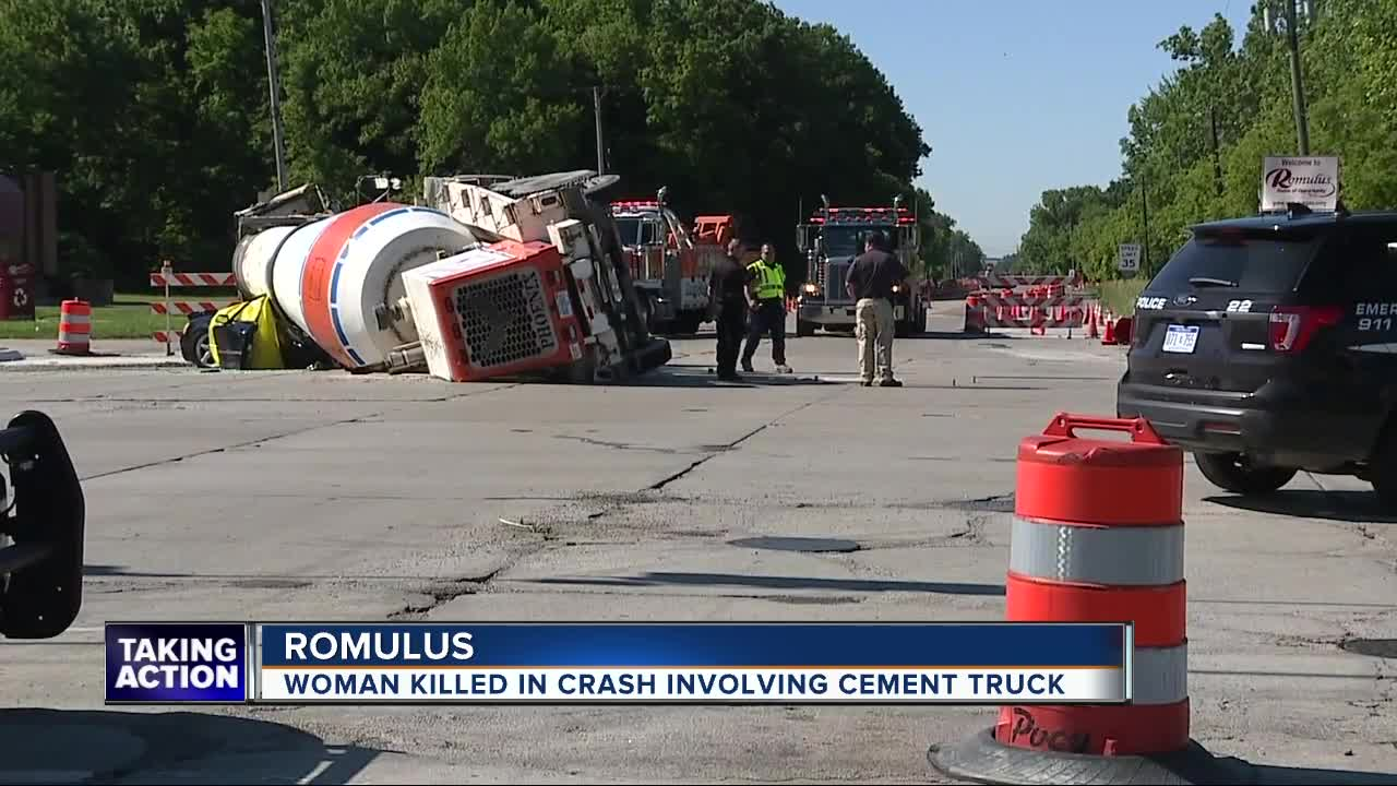 Woman dead after cement spills onto vehicle following hauling truck