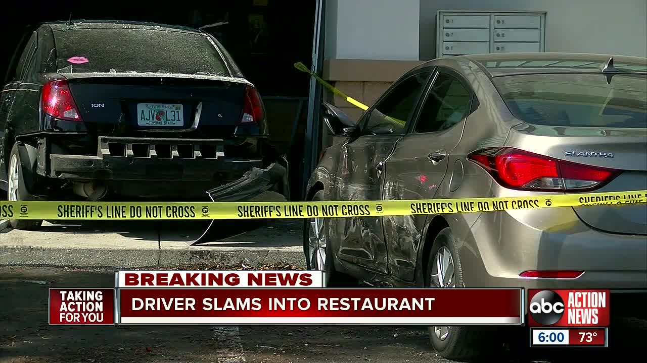 video shows car jump curb, crash into beef 'o' brady's in spring