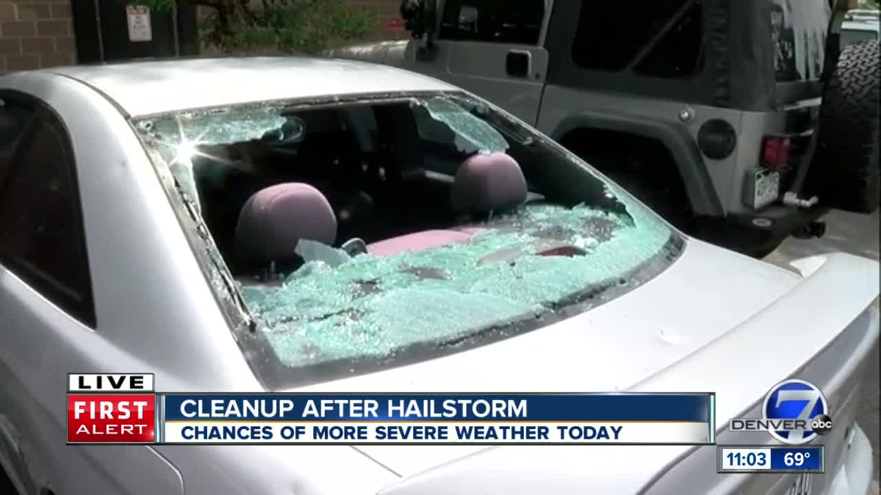 Cleanup underway after hailstorm damages cars, roofs north