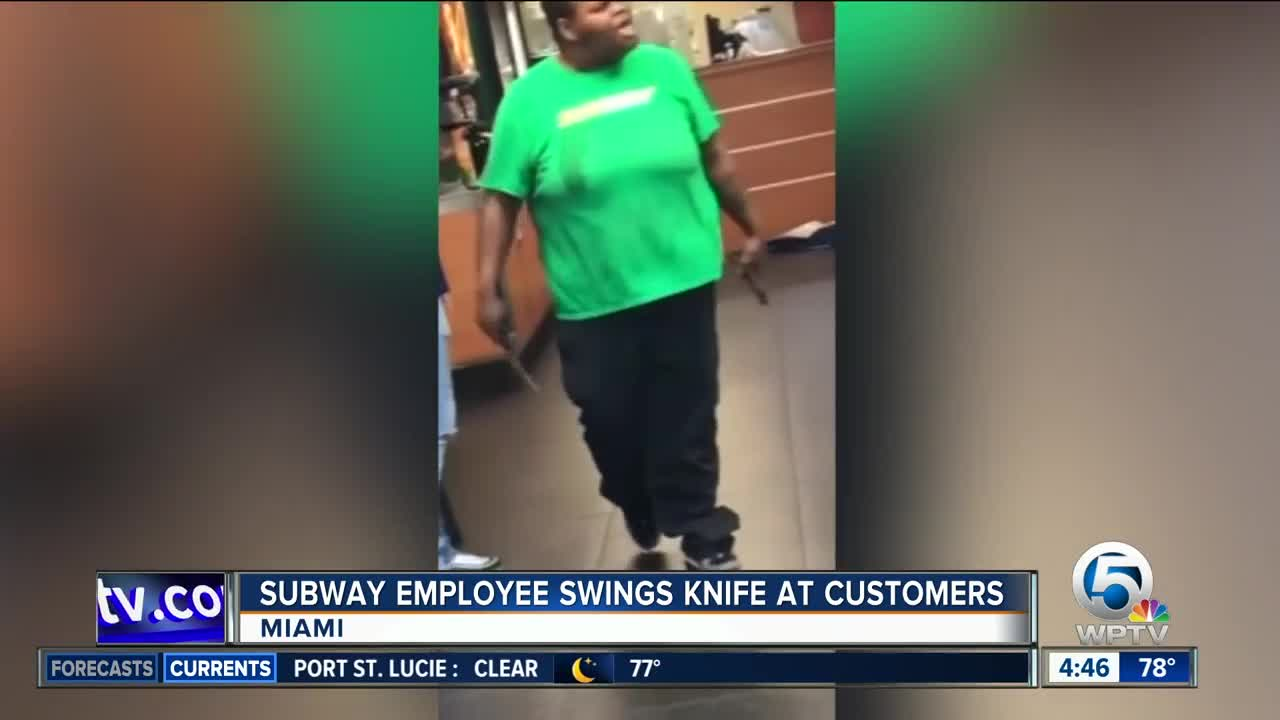 VIDEO: Knife-wielding Subway employee in Miami arrested