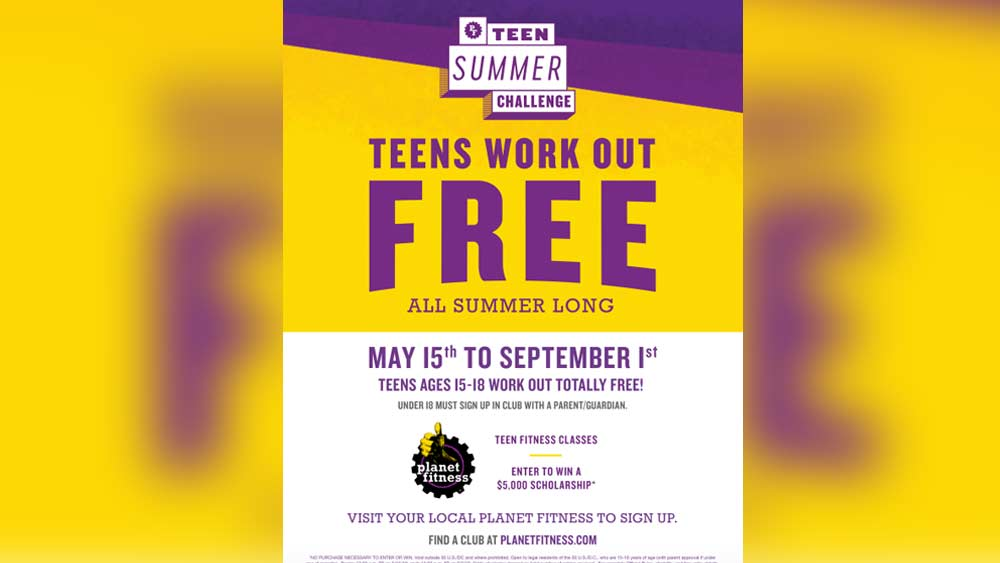 Teens can work out for free all summer at Planet Fitness