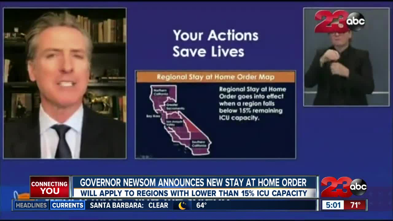 Gov. Newsom announces regional stay-at-home order tied to ICU capacity