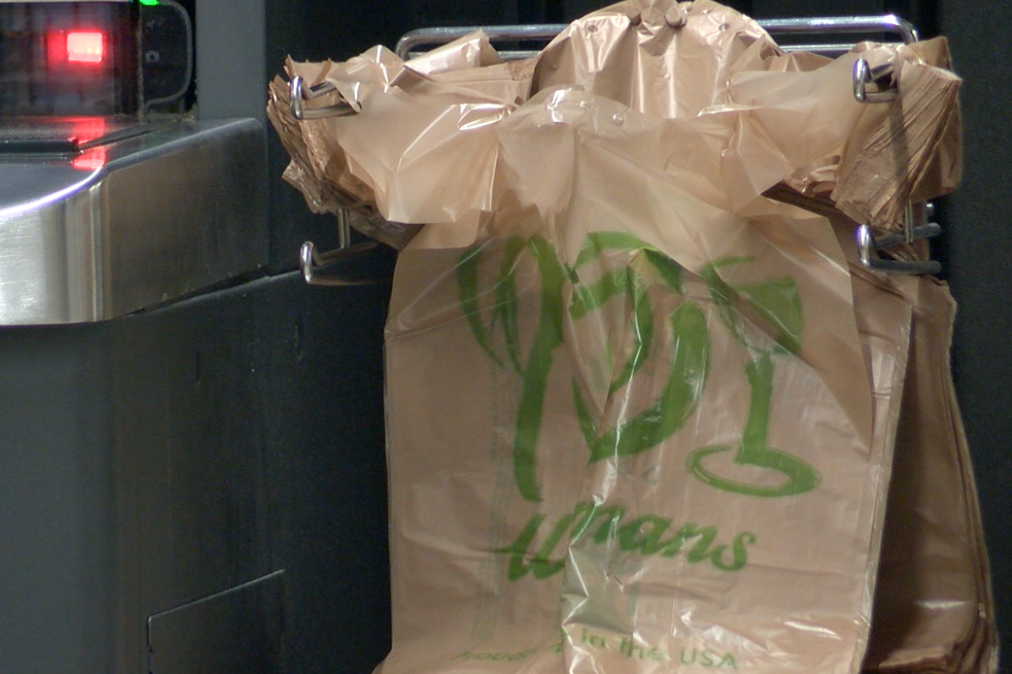 Plastic bags will disappear from store shelves this week in some stores