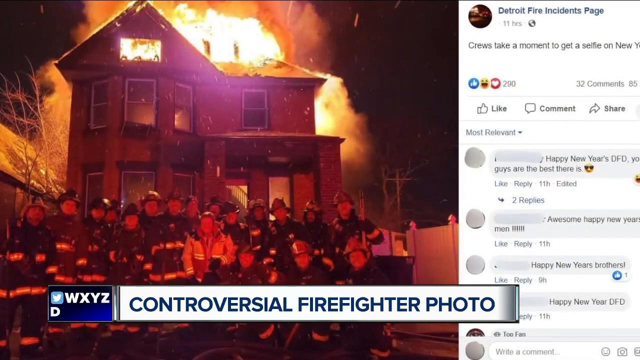 Detroit firefighters face backlash over photo in front of a burning home