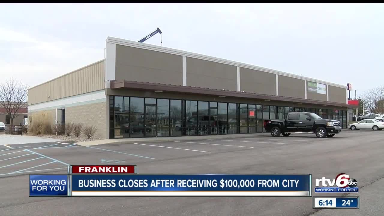 Franklin Business Closes After Receiving 100000 From City