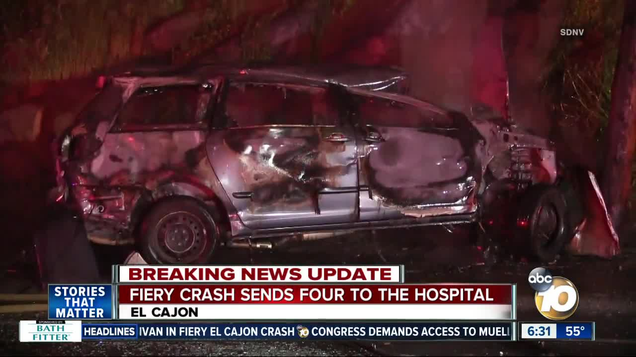4 rushed to hospital after fiery crash on El Cajon road