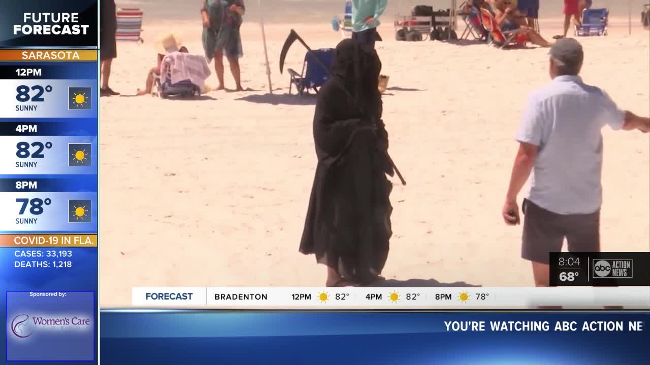 Grim Reaper haunts Florida beaches to protest reopening during pandemic
