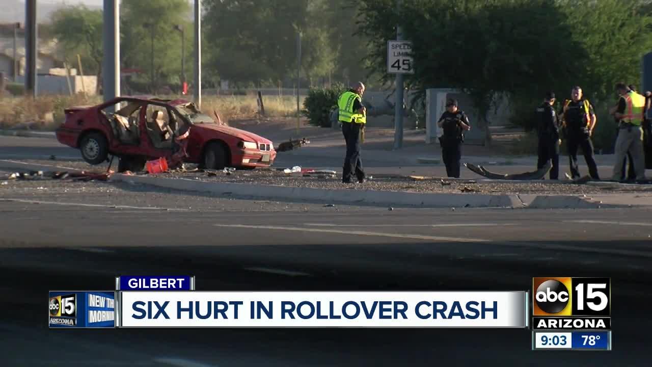 mcso: 5 teens injured in gilbert rollover crash after speeding away