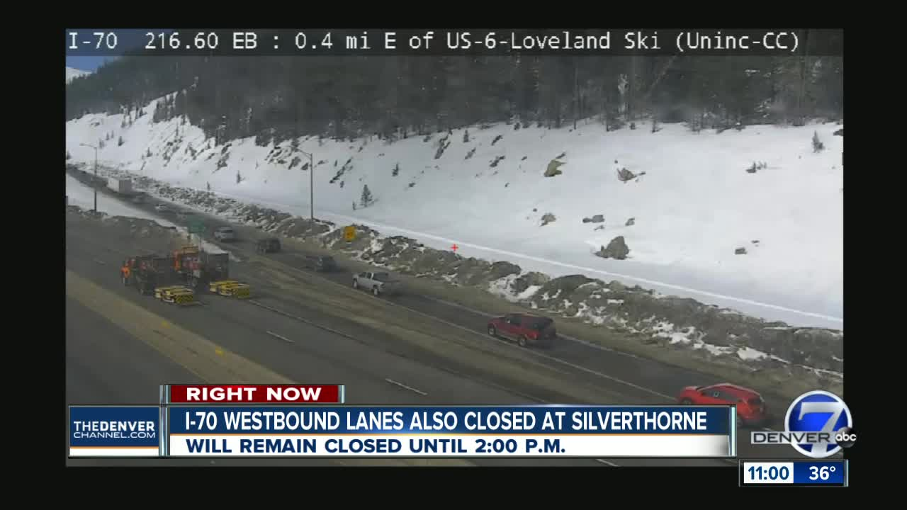 Westbound I-70 closed from 10 a m  to 2 p m  Monday at