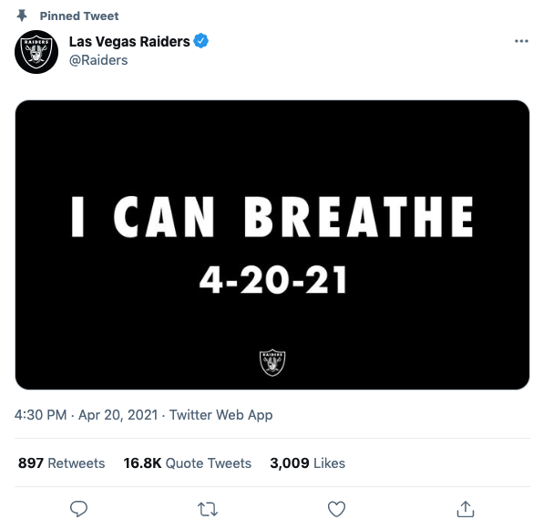 George Floyd's family responds to Las Vegas Raiders 'I Can Breathe' tweet