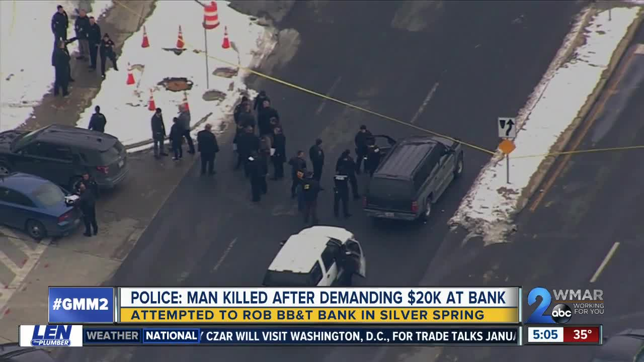 Attempted bank robber shot, killed by Montgomery County Police