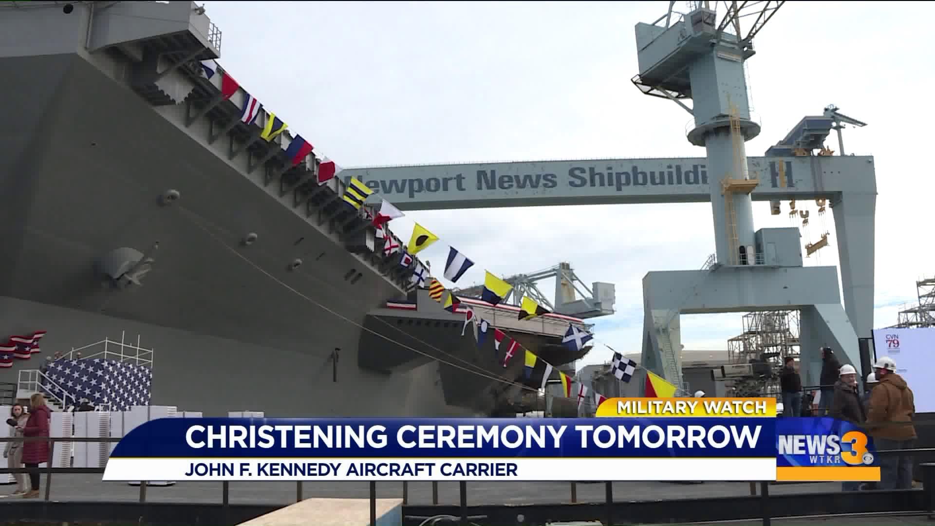 Watch: John F. Kennedy christened in Newport News
