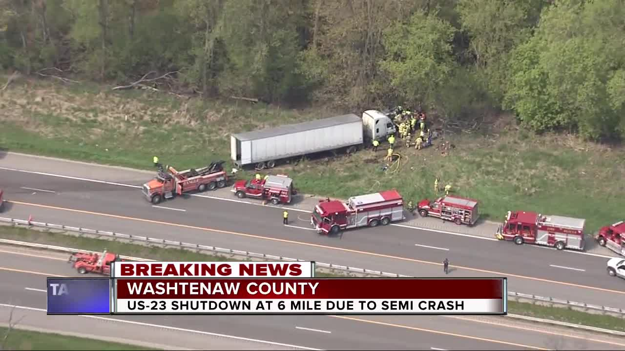Two injured after major crash involving semi on US-23 in