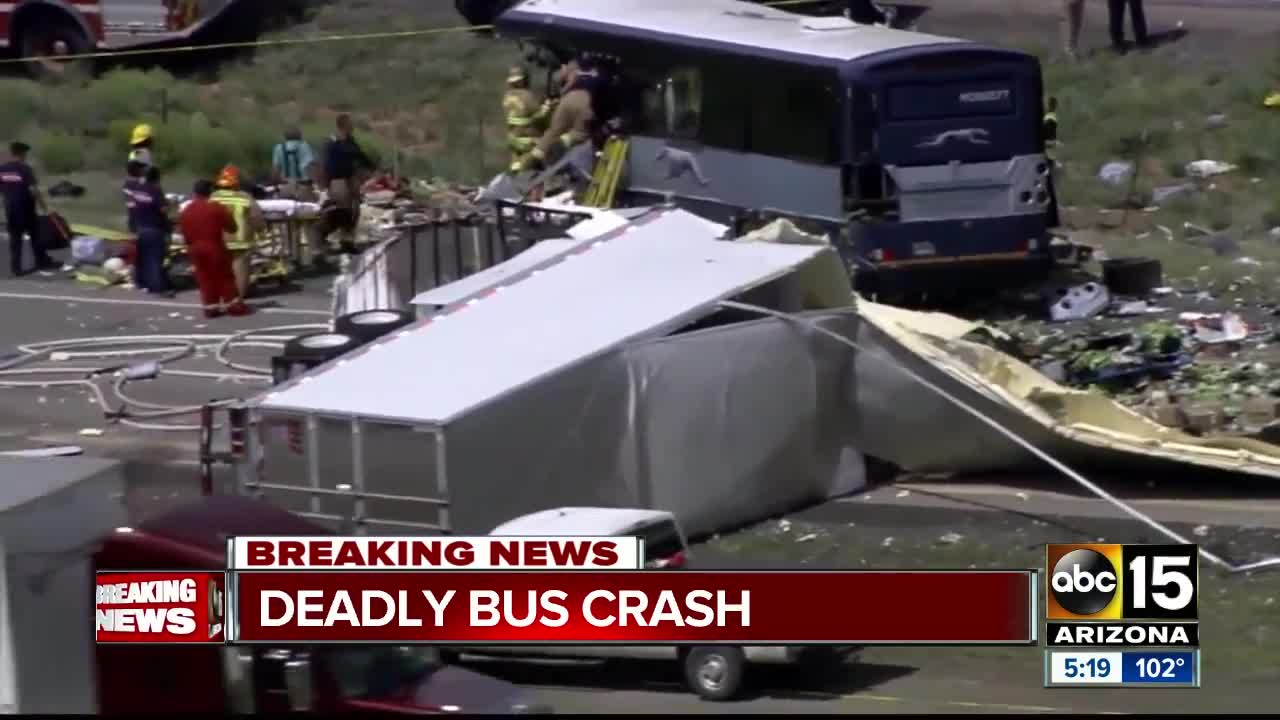 9 dead in bus crash heading to Phoenix on I-40, police say