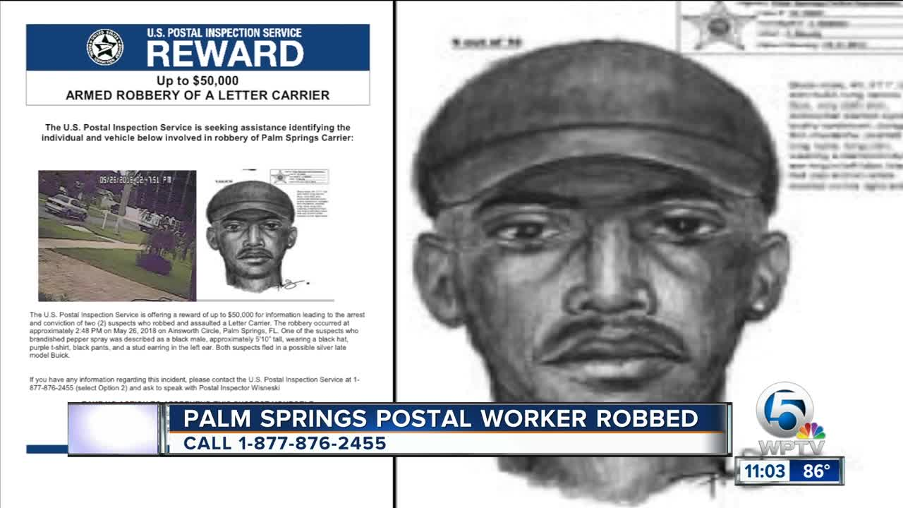 Sketch released after postal carrier robbed in Palm Springs