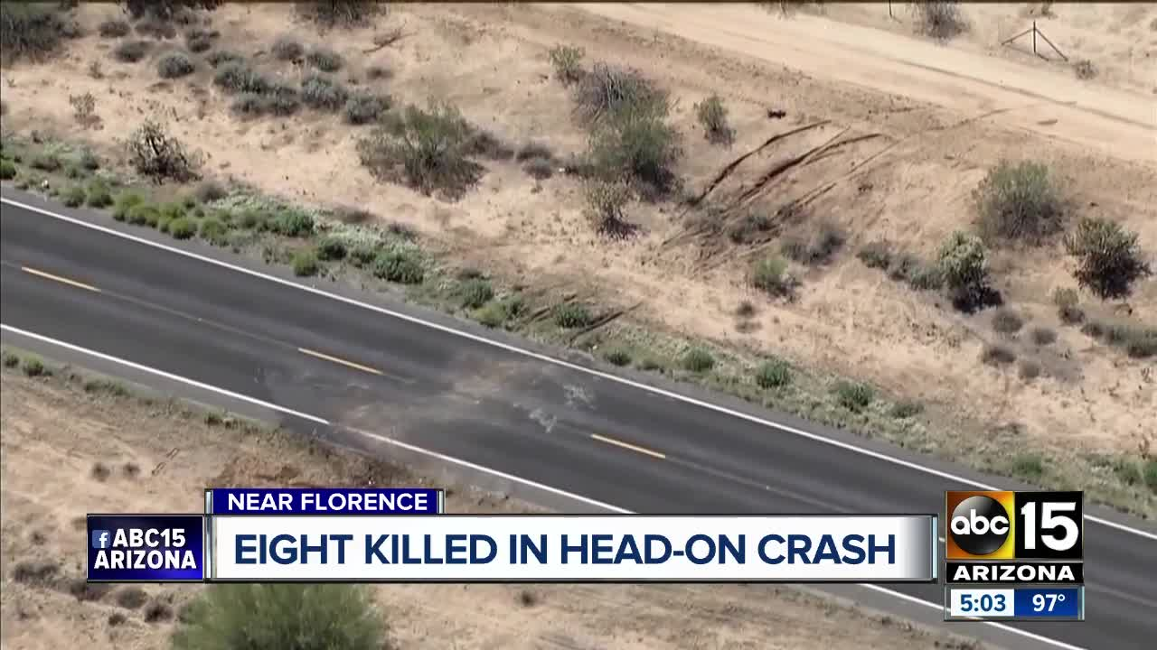 Eight killed in head-on crash near Florence, DPS says