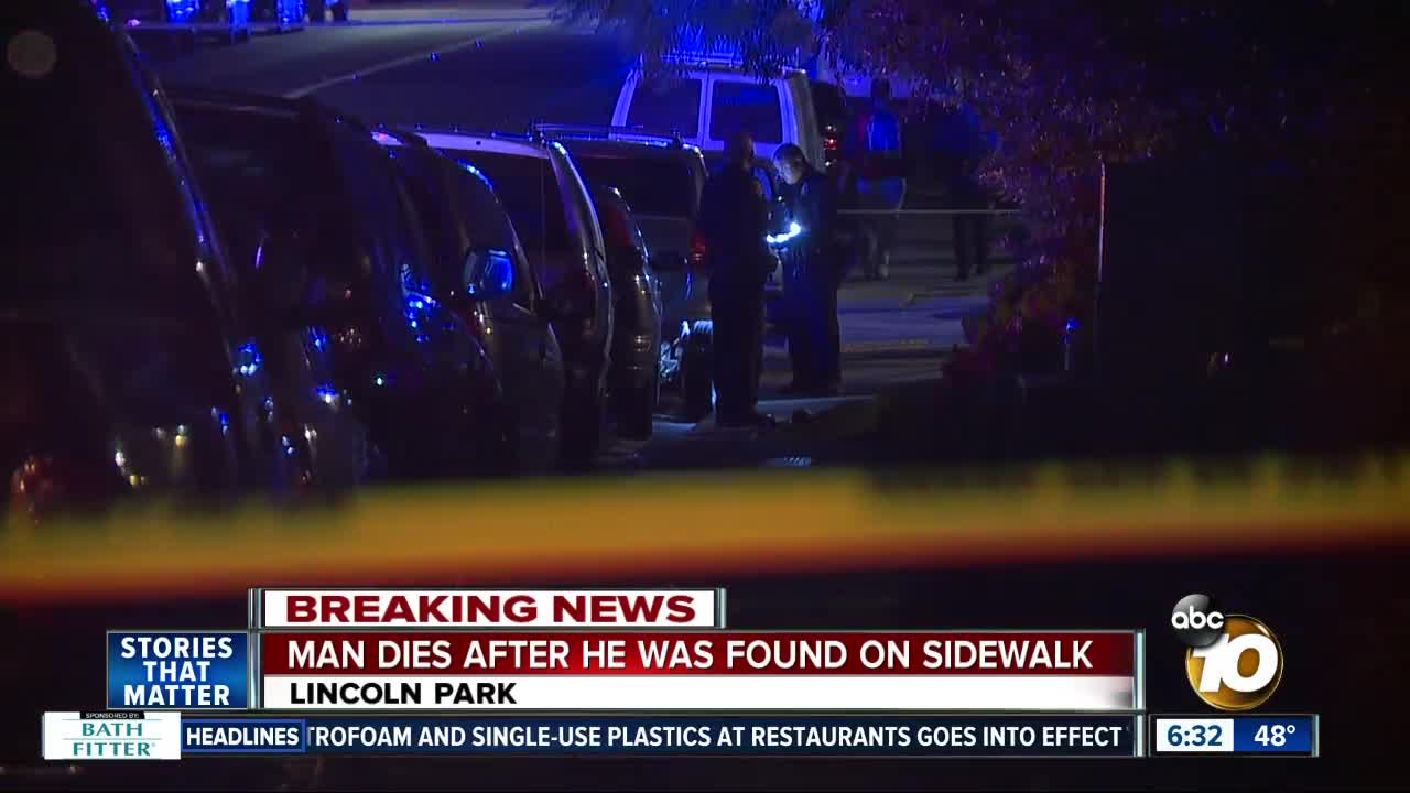 San Diego police: Man dies on Lincoln Park sidewalk