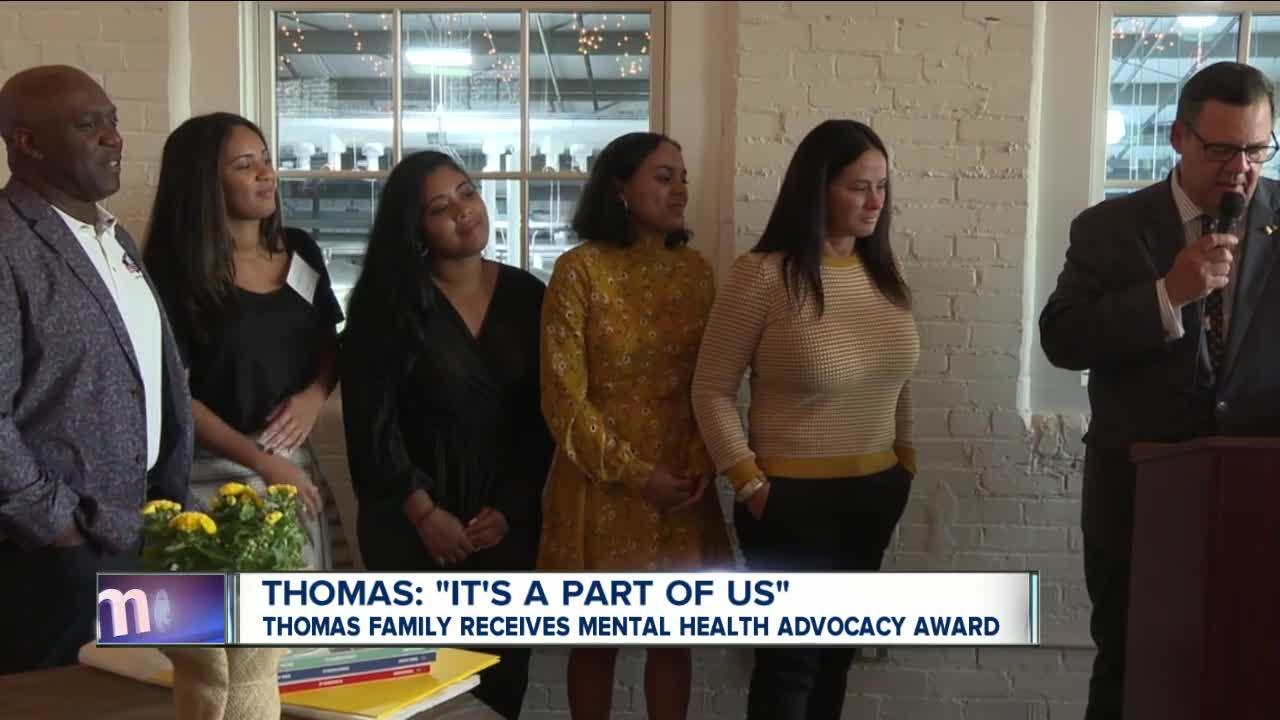 Thomas family receives mental health benefactor award