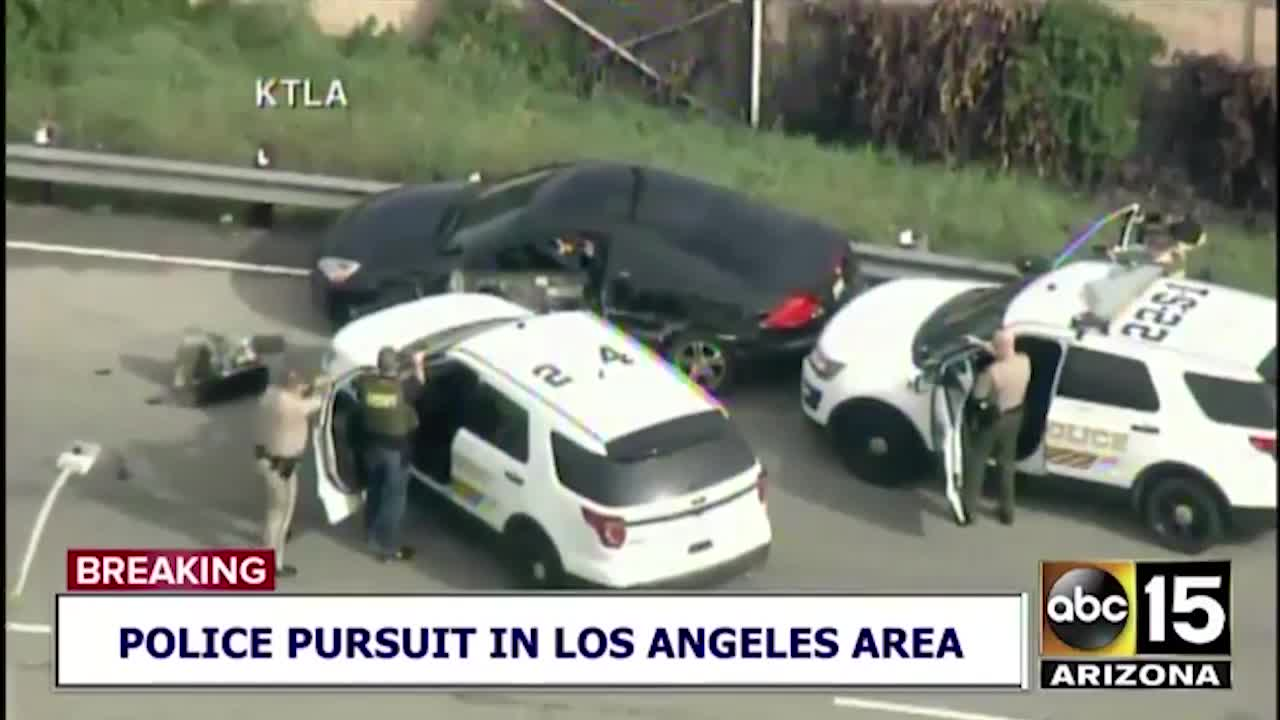 VIDEO: Truck driver stops car in high-speed LA chase