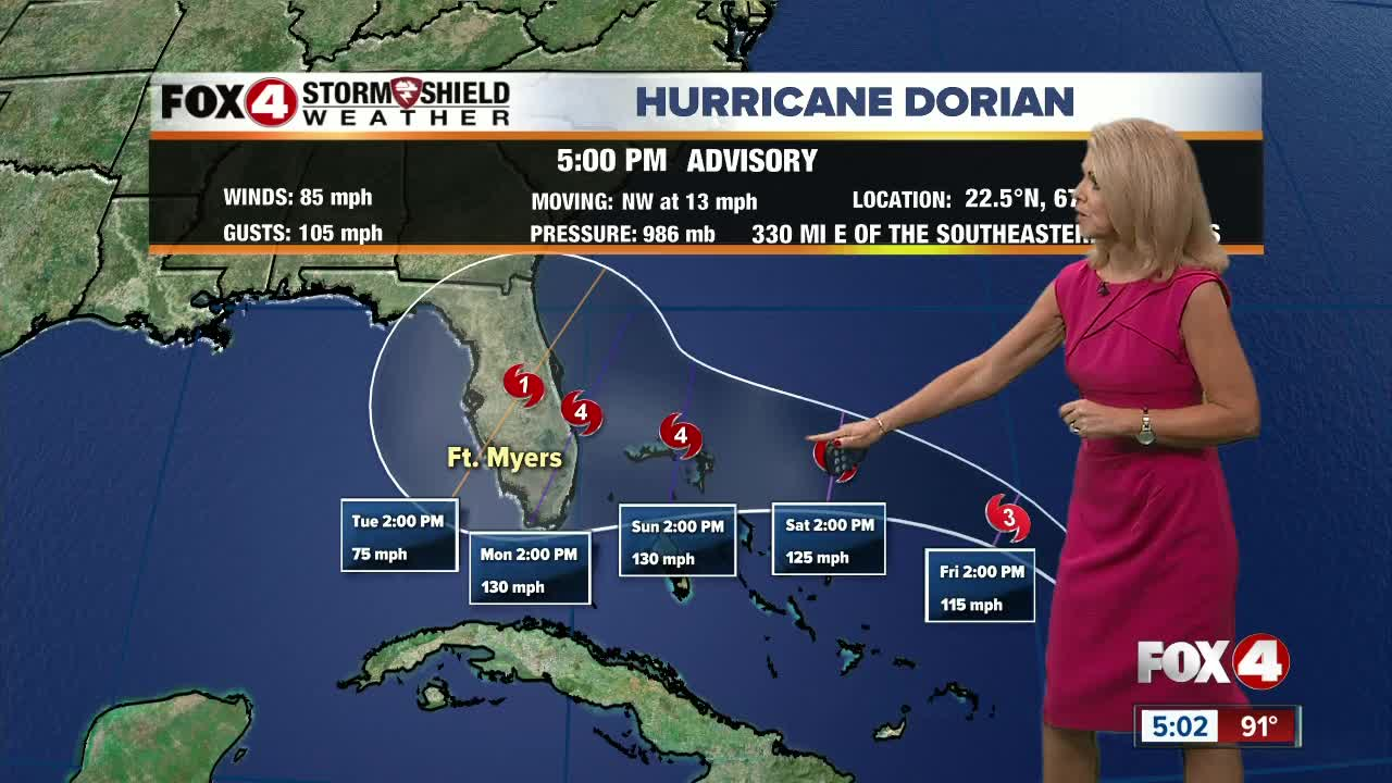 Dorian now expected to reach Category 4 strength before landfall