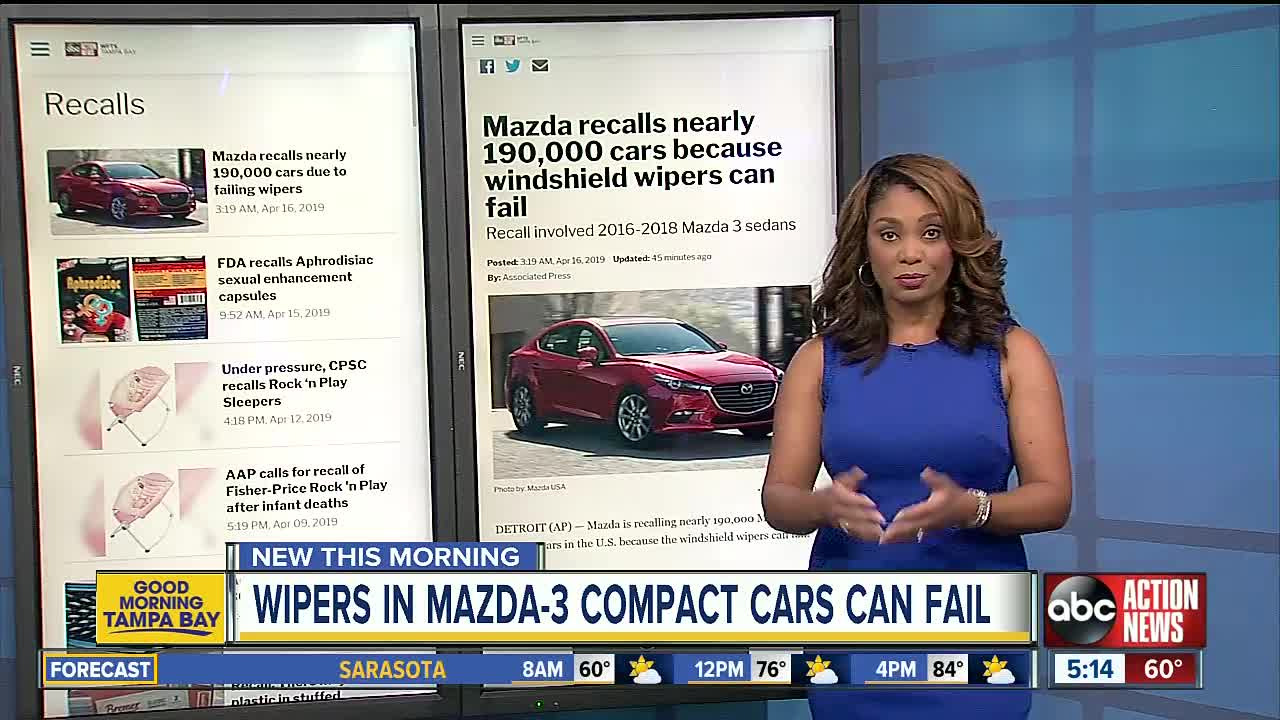 Mazda recalls nearly 190,000 cars because windshield wipers
