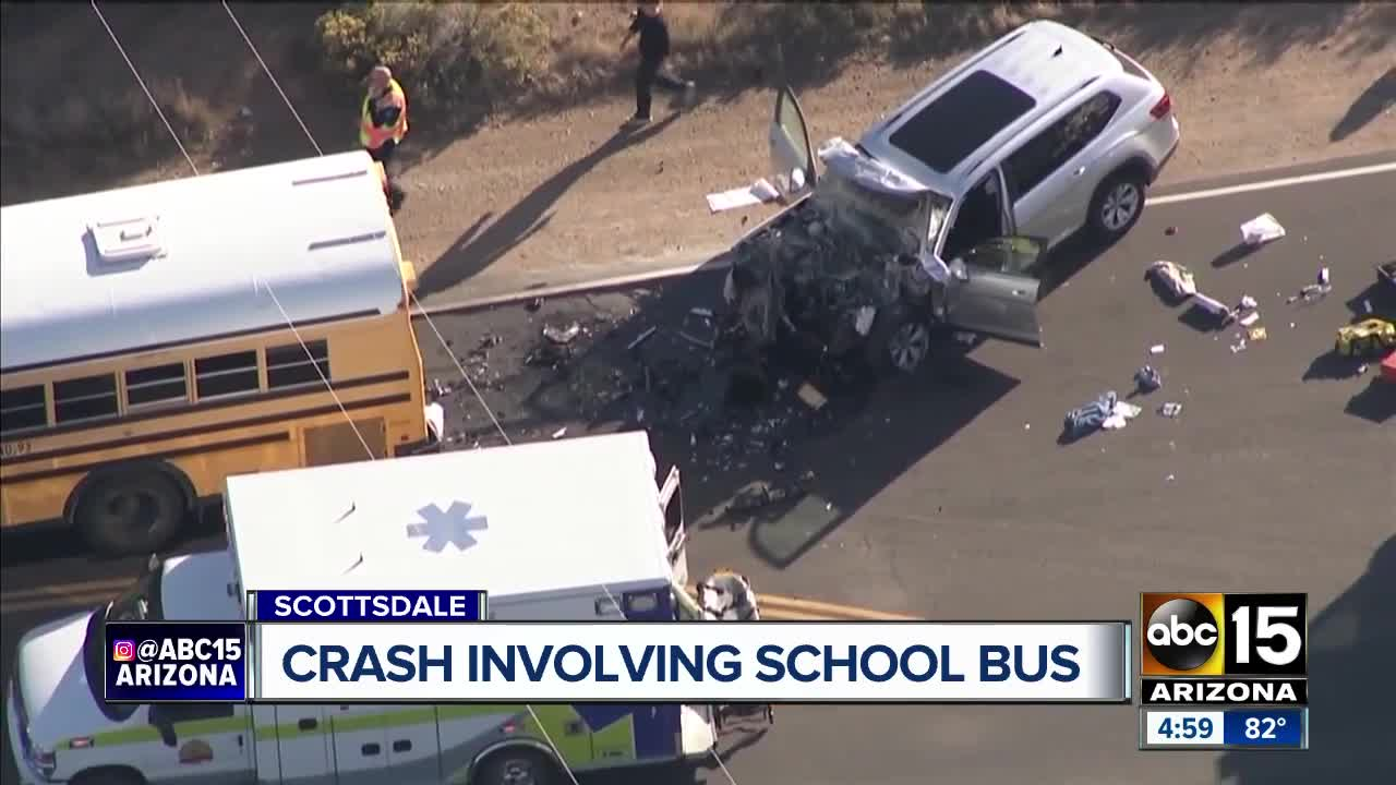 driver of suv dies after collision with school bus in north scottsdale