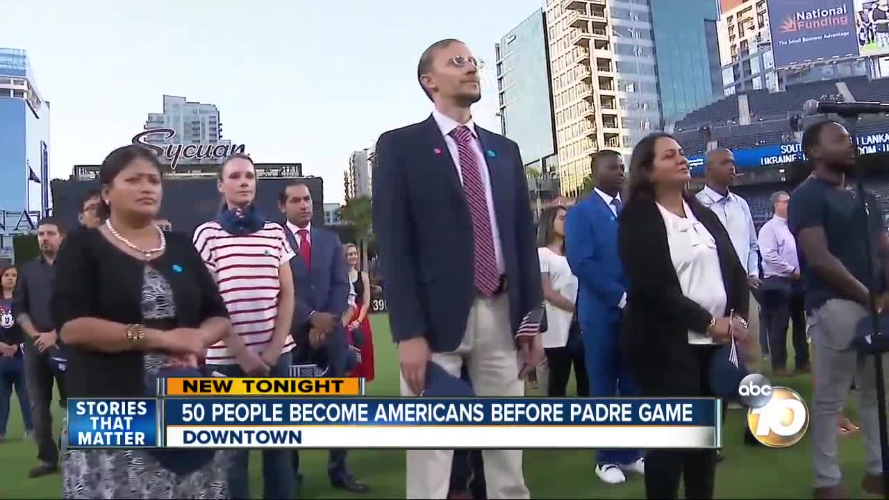 50 people become American citizens before San Diego Padres game