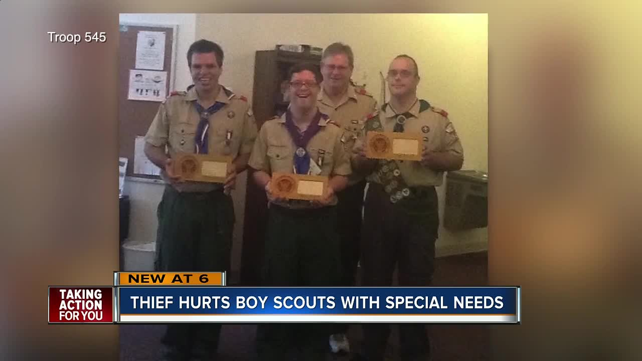 Thieves steal supplies from special needs Boy Scouts outside