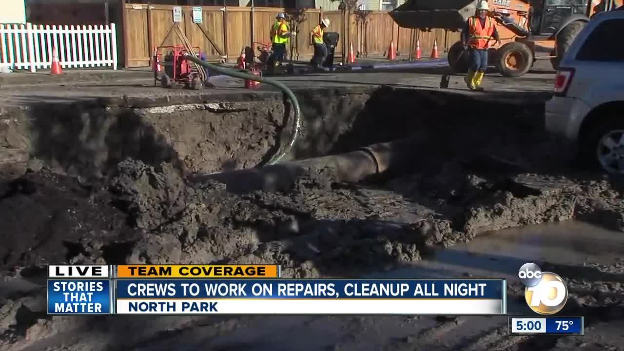 Massive water main break floods North Park streets, leaves