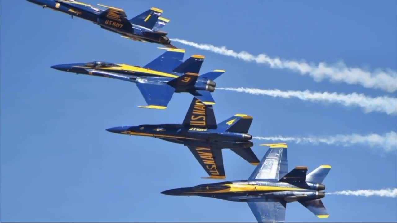US Military News • Blue Angels Perform at Waterfront Air Show • New York